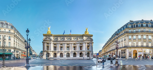 Door stickers Historic monument Paris, France - circa May, 2017: Panoramic view of Palais or Opera Garnier & The National Academy of Music in Paris, France