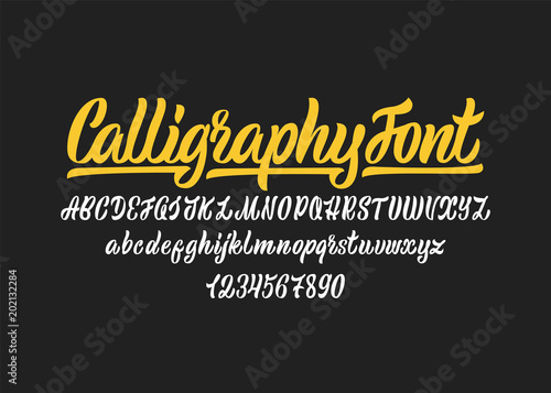 Carta da parati Calligraphic vector script font