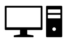 Home Desktop Computer Personal PC Flat Vector Icon For Apps And Websites
