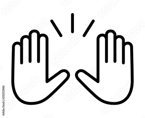 Fotografía Raising hands to celebrate line art vector icon for apps and websites
