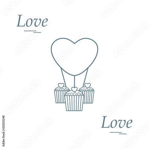 Cute Vector Illustration Of Love Symbols Heart Air Balloon Icon And
