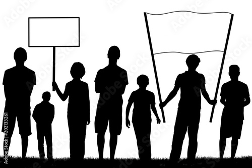 Valokuva  groupe de garçons manifestant