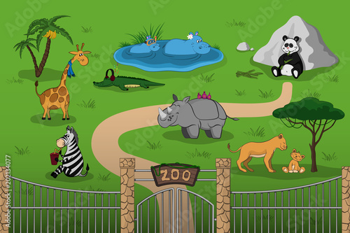 Animals of zoo in cartoon style. Scene with funny characters. Wildlife poster