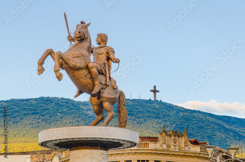 Warrior on a Horse statue (Alexander the Great), Skopje Canvas Print