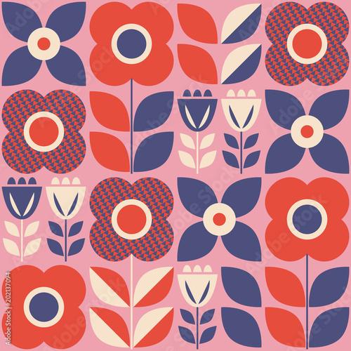 Tapety Retro  bezszwowy-wzor-z-kwiatowymi-elementami-w-stylu-retro-skandynawskim
