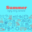 Thin Line Style Vector Summer Illustration with travel icons.