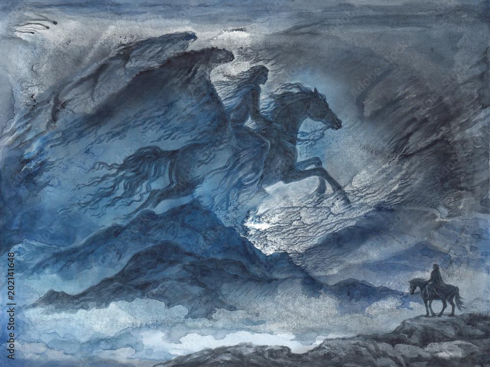 Fototapeta Акварельная иллюстрация, фантастический пейзаж с женщиной всадницей в ночном небе.