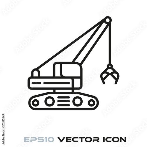 Fotografering  Clamshell excavator line icon