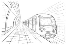 Hand Drawn Sketch Subway Station