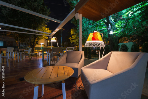 Restaurant terrace in the summer night фототапет