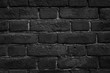 Black brick wall close-up texture - dark grunge background