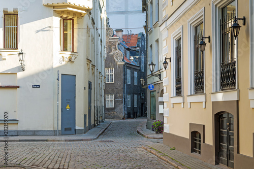 City view, old cozy street in Jurmala, Latvia, Europe. Tourism concept