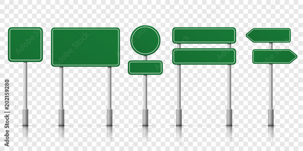 Fototapety, obrazy: Road signs green vector template icons