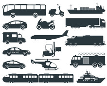 Transportation Icons Set. City Cars And Vehicles Transport. Car, Ship, Airplane, Train, Motorcycle, Helicopter. Silhouettes. Vector