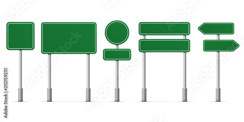 Road green signs vector icons