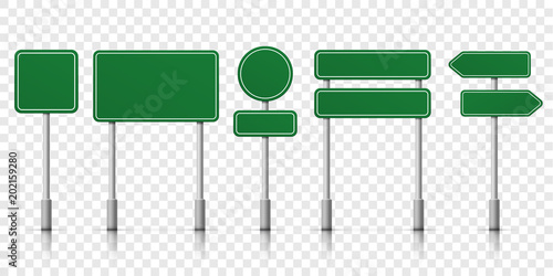 Cuadros en Lienzo  Road signs green vector template icons