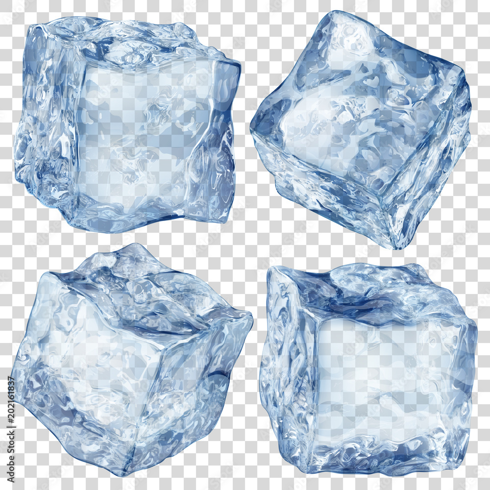 Fototapeta Set of four realistic translucent ice cubes in blue color isolated on transparent background. Transparency only in vector format