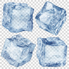 Set Of Four Realistic Translucent Ice Cubes In Blue Color Isolated On Transparent Background. Transparency Only In Vector Format