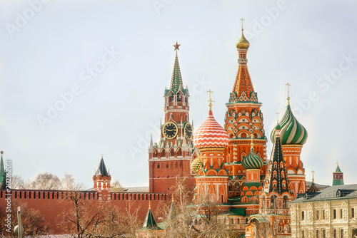Moscow Kremlin Spasskaya tower and St Basil's Cathedral on the Red Square in Moscow, Russia Tapéta, Fotótapéta