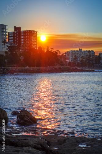 Poster Oceanië Manly Beach at sunset, Sydney, Australia