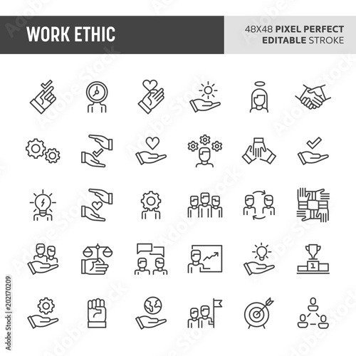 Fotografie, Obraz  Work Ethic Vector Icon Set