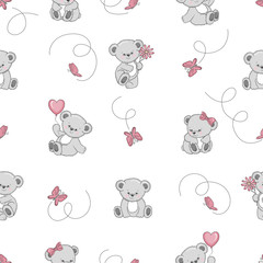 Tapeta Seamless pattern with cute cartoon Teddy bears. Vector background for kids design. Baby print.