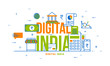 Digital India Concept with Financial Elements, and national tri colours.