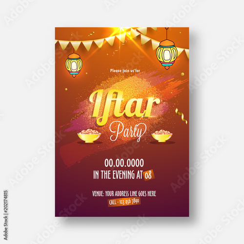 Staande foto Retro sign Iftar Party celebration, invitation card design with stylish golden text, hanging lanters, and sweets and space for your message, can be used as poster, banner or flyer design.