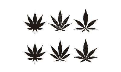 Silhouette Cannabis Marijuana Hemp Leaf CBD logo design