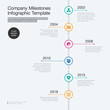 Vector infographic for company milestones timeline template with colorful circles isolated on light background. Easy to use for your website or presentation.