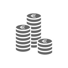 Euro Coin Stack Icon. Coins St...