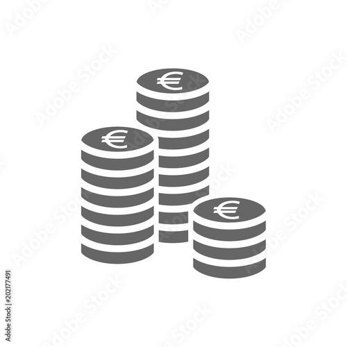 Fototapeta Euro coin stack icon. Coins stacks icon, pile of euros coins. obraz