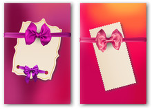 Bright Paper Cards With Beautiful Satin Bow.