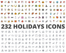 Holidays Colored Line Icon Vector Pack