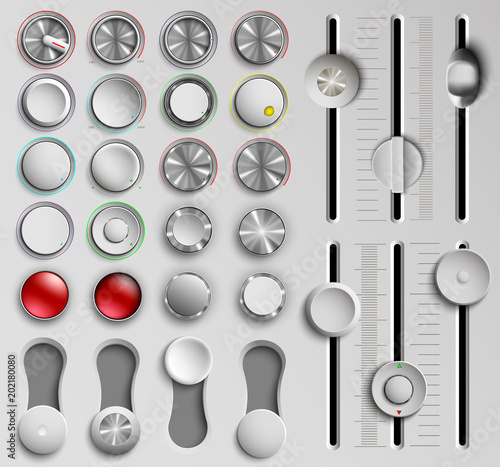 Slika na platnu set of buttons and faders, volume control