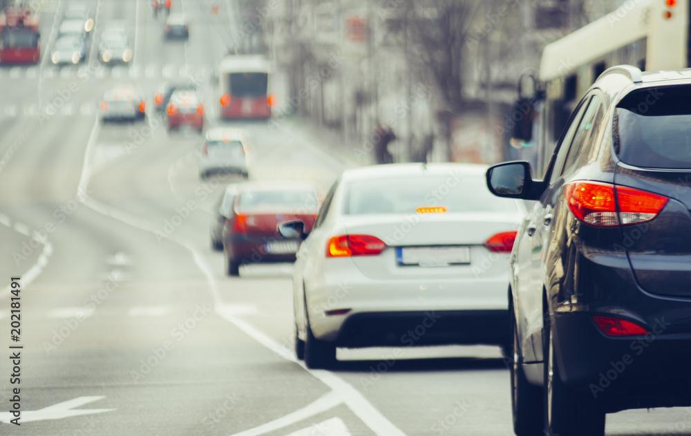 Fototapeta Traffic jam on urban street in city