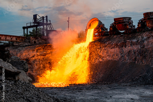 Fotografie, Obraz  Domestic slag discharge at the iron foundry, industrial landscape
