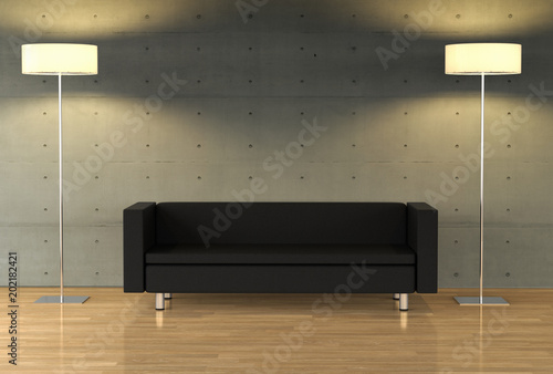 3D rendering of an empty wall on a modern apartment with modern ...