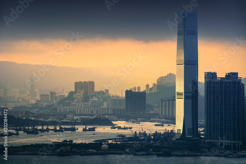 HongKong and Kowloon at sunset Plakát