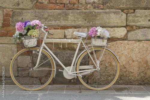 Foto op Plexiglas Bicicletta con Fiori per Strada, Bicycle with Flowers in the Street