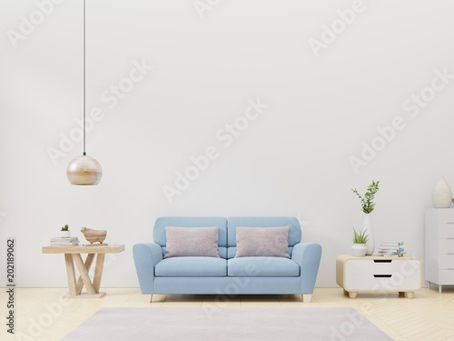 Fototapety, obrazy: Modern living room interior with sofa and green plants,lamp,table,cabinet on blue wall background. 3d rendering.