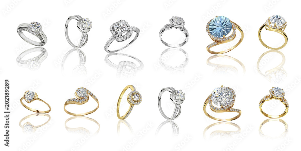 Fototapety, obrazy: Set of rings. Best wedding and engagement ring