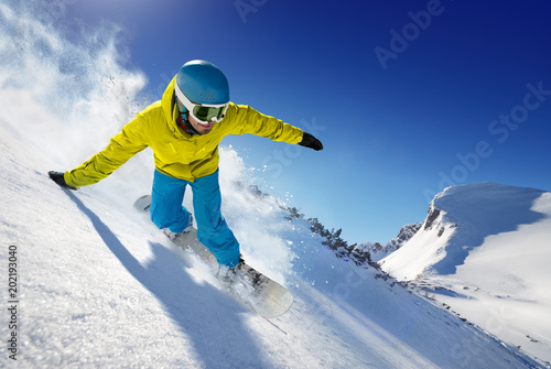 Fotobehang Wintersporten Skier in the freeride - mountains at sunny day.
