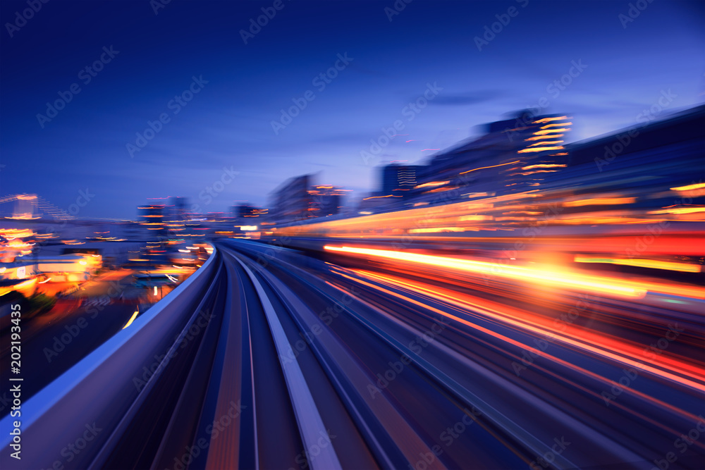 Fototapeta Subway tunnel with Motion blur of a city from inside, monorail in Tokyo