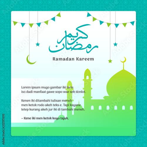 ramadan kareem greeting card with crescent moon festival ornament