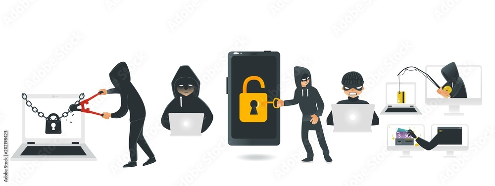 Fototapeta Cartoon hackers hacking devices set. Men in black brake chain of locked laptop by bolt cutter, stealing wallet by fishing rod, coding at computer, stealing money from smartphone. Vector illustration