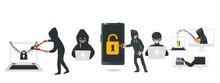 Cartoon Hackers Hacking Device...