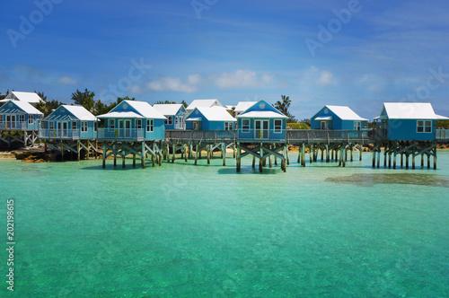Fotografia, Obraz  Beautiful tropical beach on Bermuda Island and houses on stilts
