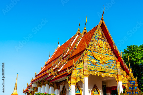 Foto op Aluminium Bedehuis Beautiful architecture at Mongkol nimit Temple in Phuket, Thailand