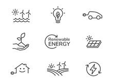 Renewable Energy Line Icons